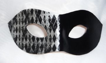 Genuine Handmade Unique Embellished Black & Silver Half Harlequin Leather Mask (a)